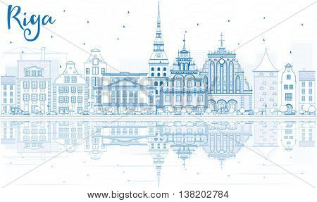 Outline Riga Skyline with Blue Landmarks and Reflections. Vector Illustration. Business Travel and Tourism Concept with Historic Buildings. Image for Presentation Banner Placard and Web Site.