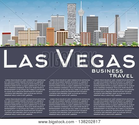 Las Vegas Skyline with Gray Buildings, Blue Sky and Copy Space. Vector Illustration. Business Travel and Tourism Concept with Modern Buildings. Image for Presentation Banner Placard and Web.