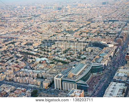 RIYADH - FEBRUARY 29: Aerial view of Riyadh downtown on February 29, 2016 in Riyadh, Saudi Arabia.