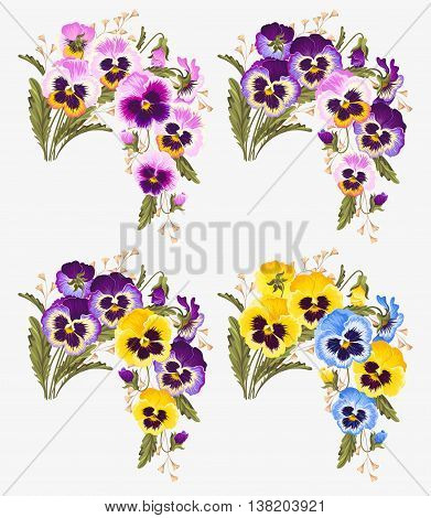 Vector set of vintage bouquets of vibrant pansy flowers