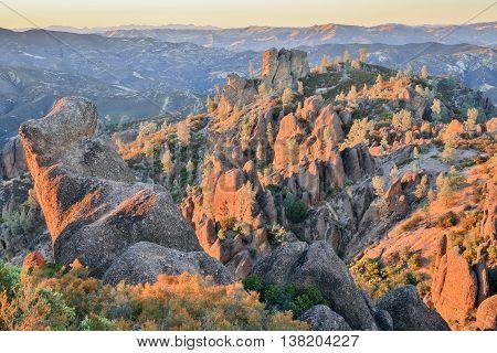 Last Sunight on Pinnacles National Park, California, USA