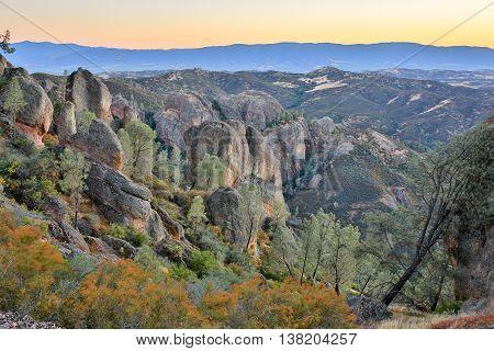 Dusk over Pinnacles National Park, California, USA