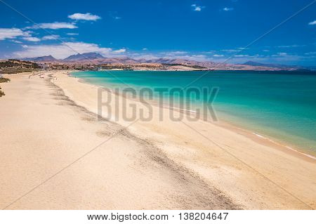 View To Costa Calma Sandy Beach With Vulcanic Mountains In The Background On Fuerteventura Island, C