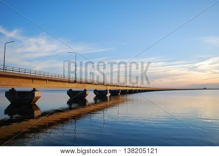 Calm evening by the Oland Bridge connecting the swedish island Oland with mainland Sweden