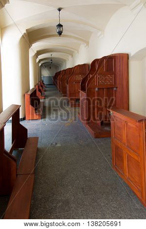 Mount St. Anna Poland - July 4 2016: Empty confessionals a place of repentance and conversion. International Shrine of St. Anne Mount St. Anna Poland