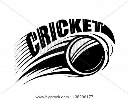 Vector illustration of cricket badge template with flying ball and typography text sign in monochrome simple style. Use for print, web design. Editable.