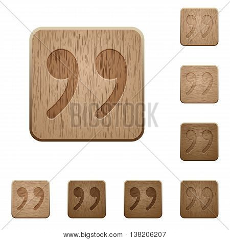 Set of carved wooden Quotation mark buttons in 8 variations.