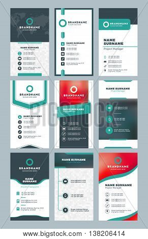 Set Of Modern Vertical Business Card Print Templates. Personal Visiting Card With Company Logo. Clea