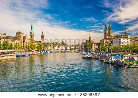 View of historic Zurich city center with famous Fraumunster Church Limmat river and Zurich lake Switzerland