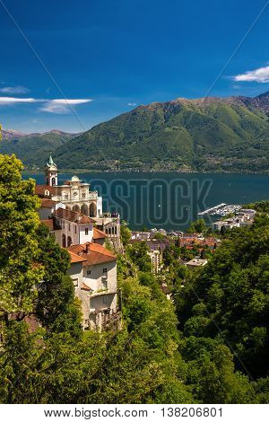 Madonna Del Sasso Church Above Locarno City, Lake Maggiore (lago Maggiore) And Swiss Alps In Ticino,