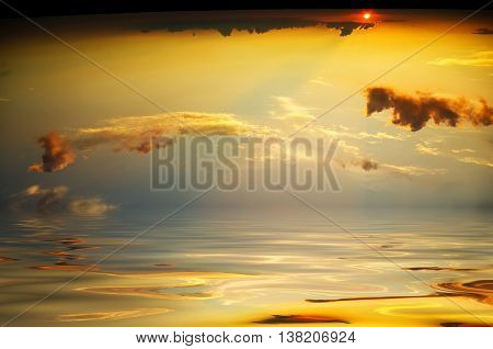 Cloudy sky in the sunset. Nature composition.