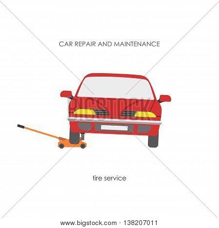 Car raised on a hydraulic jack. Vector illustration
