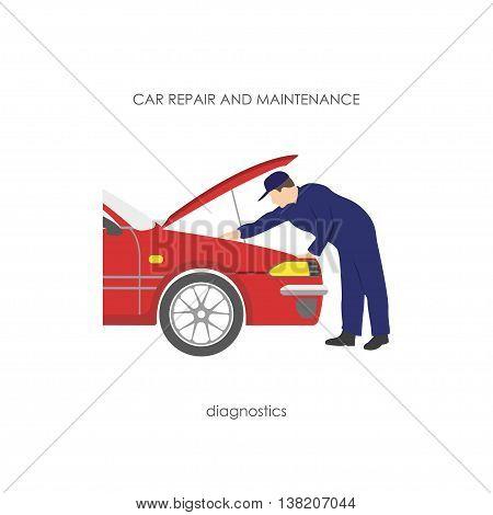 Mechanic produces vehicle diagnostics. Car maintenance. Vector illustration