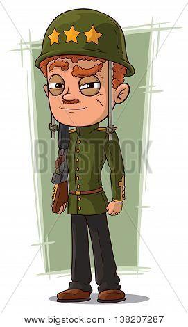 A vector illustration of cartoon brave soldier in green helmet