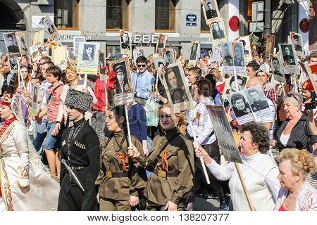 St. Petersburg, Russia - 9 May, People with portraits of relatives, 9 May, 2016. Memory Action