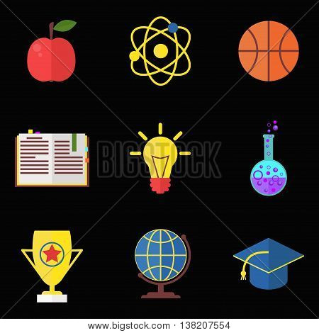 Education school college university flat colorful vector icons collection