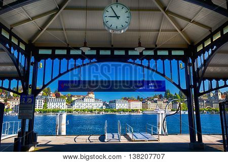 LUCERNE SWITZERLAND - May 5 2016 - Boat harbor in the center of Lucerne city with the old town and Lucerne lake (Vierwaldstatersee) in the background.