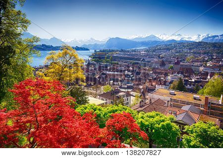 Historic City Center Of Lucerne With Famous Pilatus Mountain And Swiss Alps, Luzern, Switzerland
