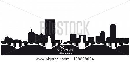 boston city skyline black and white silhouette