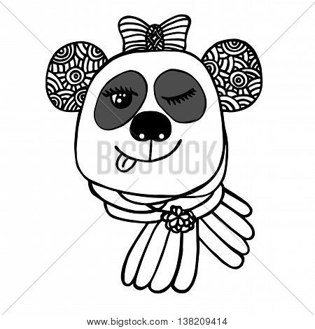 Hand drawn head of smile Panda with bow. Sketch for tattoo poster print or t-shirt. Relaxing coloring book for adult and older children.