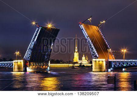 Breeding bridges in St. Petersburg at night. Russia.