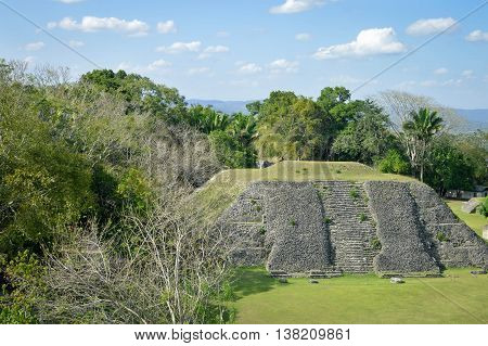 The pyramid at the Plaza A-1 at Xunantunich archaeological site and the panoramic views seen from the top of El Castillo pyramid San Ignacio Belize