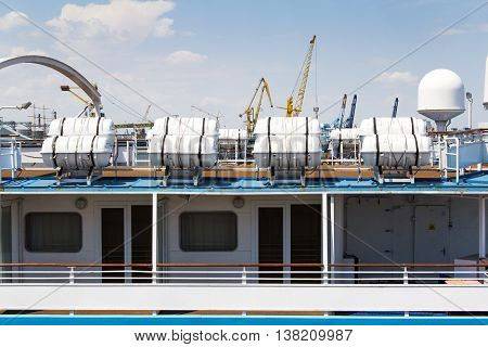 Odesa, Ukraine - July 03, 2016: Lifeboat on the cruise ship. Navy day celebration in Odesa