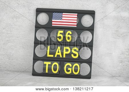 Austin racing pit board with flag of USA 3D rendering