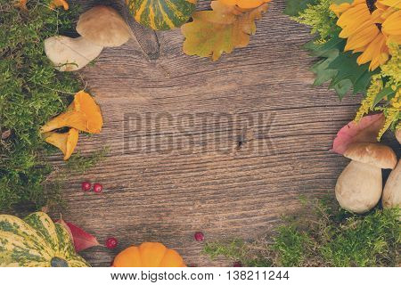 Fall frame with mushrooms, moss, leaves and pumkins on wooden table, retro toned
