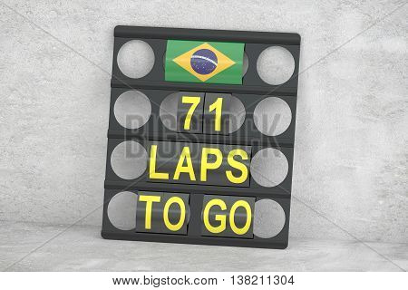 racing pit board with flag of Brazil 3D rendering