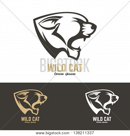 wild cat. Vector design element for logo label emblem sign badge.