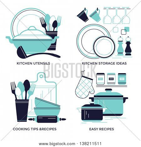 Cooking, dishware and kitchen utensils emblems, flat design style