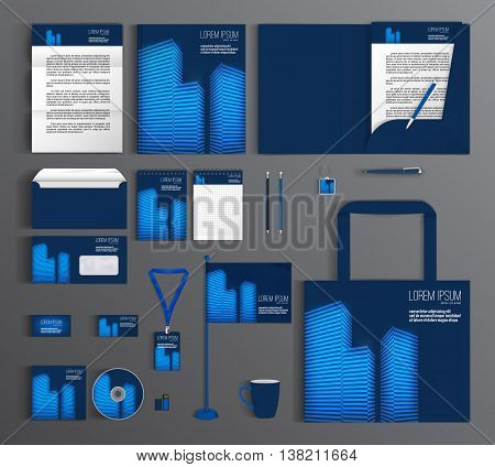 Blue corporate identity template design with elements of skyscrapers. Business set stationery, brochure, card, letterhead, catalog, pennants. Suitable for brand advertising