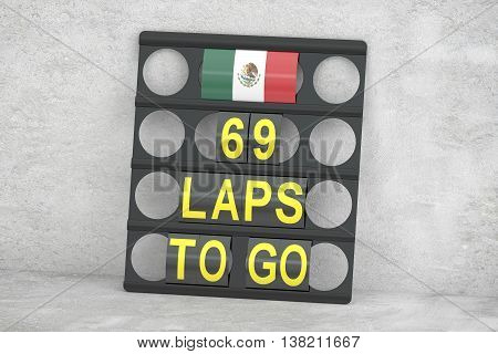Mexico racing pit board with flag 3D rendering
