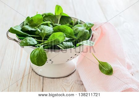 raw fresh spinach in a colander on a rustic wooden table. colored.