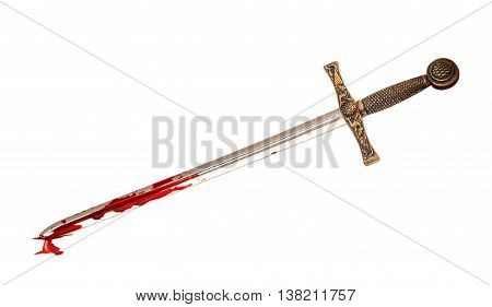 sword in blood isolated on white background
