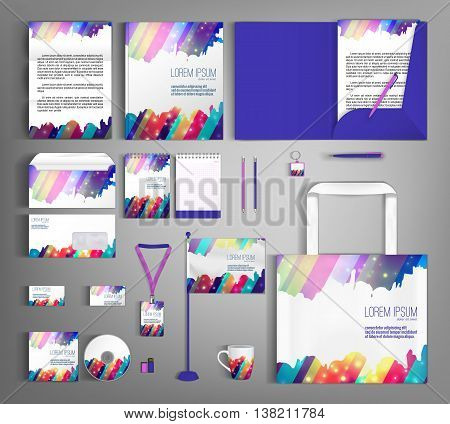 Corporate identity template design with colorful stripes. Business set stationery, brochure, card, letterhead, catalog, pennants. Suitable for brand advertising
