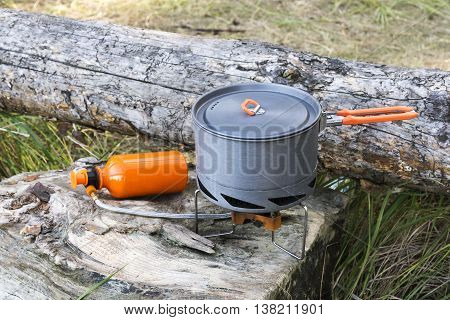 Portable Gas Burner And Pot. Camping Equipment