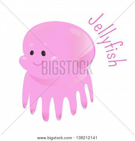 Jellyfish or jellies isolated. Free swiming non-polyp form of individuals of phylum Cnidaria. Part of series of cartoon sea creature species. Marine animals. Sticker for kids. Child fun icon. Vector.