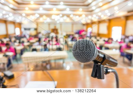 Black microphone in conference room