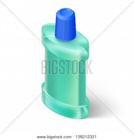 Aquamarin Isometric Bottle of Mouthwash. Illustration on White