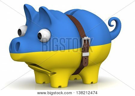The crisis of the Ukrainian economy. Tightened with a strap pig piggy bank with bulging eyes and the colors of the Ukrainian flag on a white surface. The concept of economic crisis in Ukraine. Isolated. 3D Illustration