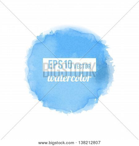 Blue watercolor-like fully vector round stain isolated on white background. Stain can be used for wallpaper, website background, wrapping paper and so on. Watercolor design.