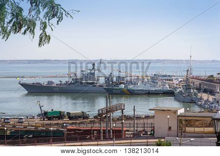 Odesa, Ukraine - July 03, 2016: Battleship HETMAN SAHAYDACHNY and other ships docked at Port of Odesa during celebration day of NAVY forces