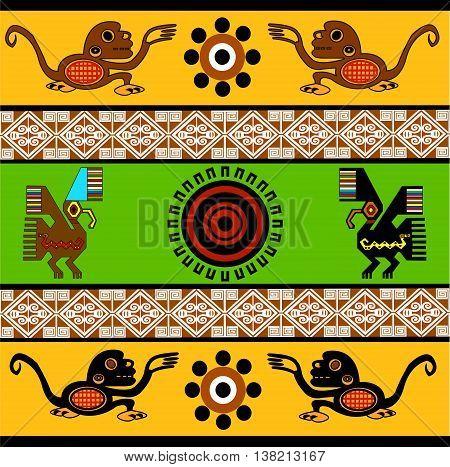 Monkey, eagle, sun. Ethnic pattern of American Indians: Aztecs, Mayans, Incas. Vector illustration.