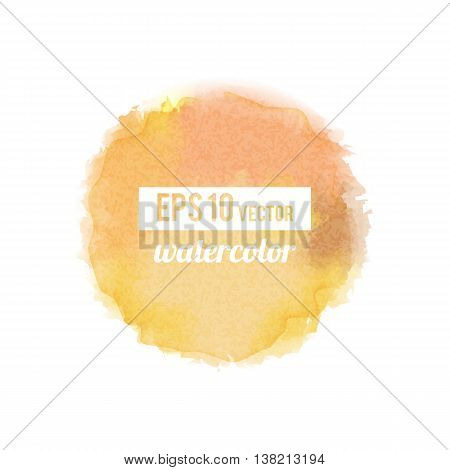 Yellow watercolor-like fully vector round stain isolated on white background. Stain can be used for wallpaper, website background, wrapping paper and so on. Watercolor design.