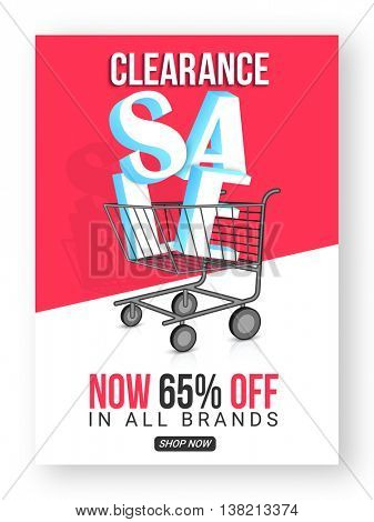 Clearance Sale with 65% Off in all brands, Creative Poster, Banner or Flyer design, Vector illustration.