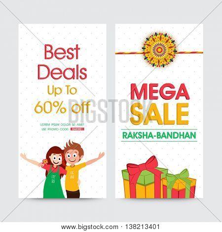 Creative Website Banner set, Mega Sale Website Banner, Best Deals with 60% Off, Vector illustration for Indian Festival of Brother and Sister Love, Raksha Bandhan celebration.