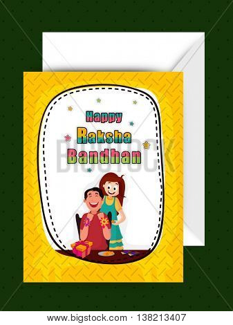 Happy Brother and Sister enjoying after celebrating Raksha Bandhan Festival, Beautiful Greeting Card design with Envelope for Indian Traditional Festival celebration.