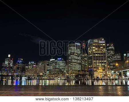 darling harbour modern skyline in central sydney australia at night